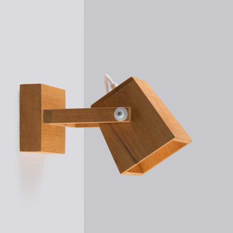 Светильник деревянный настенный бра лофт  S2 White metal